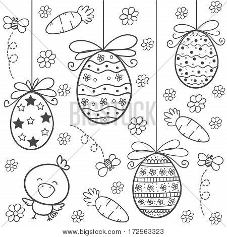 Doodle of easter egg hand draw style vector