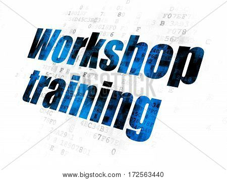Education concept: Pixelated blue text Workshop Training on Digital background