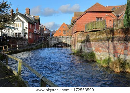 WINCHESTER, UK - FEBRUARY 4, 2017: Walk along the River Itchen leading to the City Mill