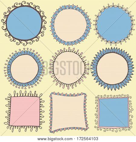 Hand drawn round square doodle frames borders boho vector set