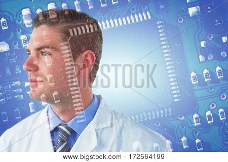 Thoughtful doctor in labcoat against blue micro electronic circuit