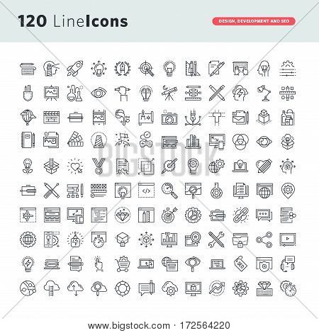 Set of premium vector thin line icons for graphic design, website design and development, app development, seo.
