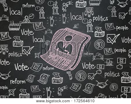 Political concept: Chalk Pink Ballot icon on School board background with  Hand Drawn Politics Icons, School Board