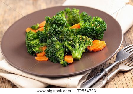 Steamed Broccoli On Plate.