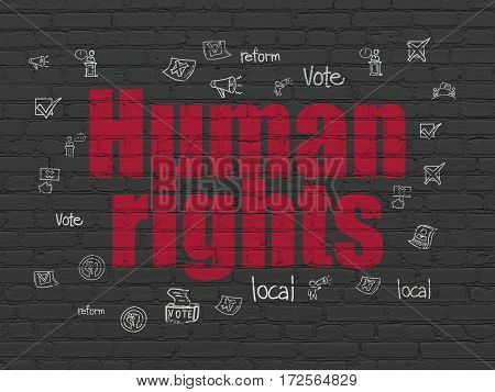 Politics concept: Painted red text Human Rights on Black Brick wall background with  Hand Drawn Politics Icons
