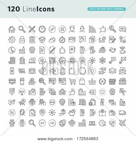 Set of premium concept icons for social network and e-commerce. Thin line vector icons for website design and development, app development.