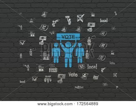 Political concept: Painted blue Election Campaign icon on Black Brick wall background with  Hand Drawn Politics Icons