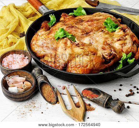 Roast Chicken Tobacco On Pan