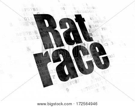 Political concept: Pixelated black text Rat Race on Digital background
