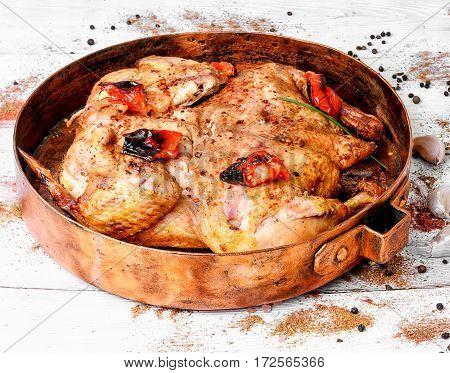 Roast Chicken Tobacco On Copper Pan