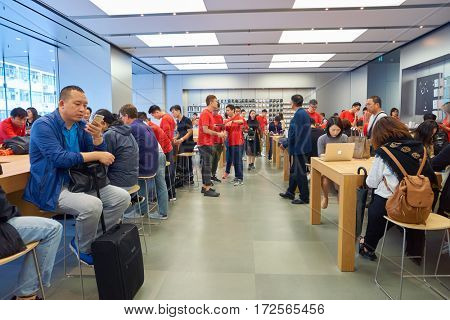HONG KONG - CIRCA NOVEMBER, 2016: inside Apple store. Apple is an American multinational technology company.