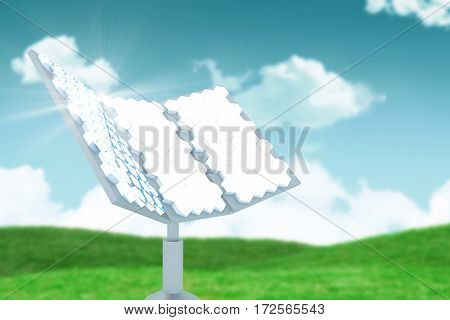 Vector image of hexagon shaped solar panel against landscape against sky