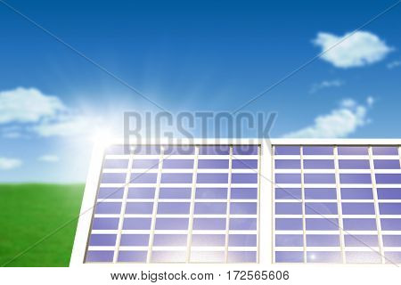 Solar panel equipment against white screen against blue sky over green field