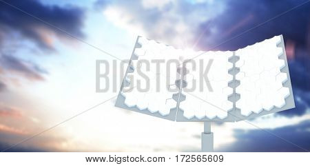 Digitally generated image of hexagon shaped solar panel against cloudy sky