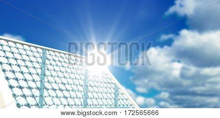 Solar panel with hexagon shape glasses against scenic view of blue sky