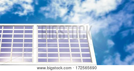 Solar panel equipment against white screen against view of beautiful sky and clouds