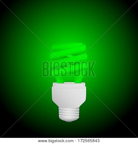 Fluorescent green economical light bulb glowing on a dark background. Save energy lamp. Realistic vector illustration.