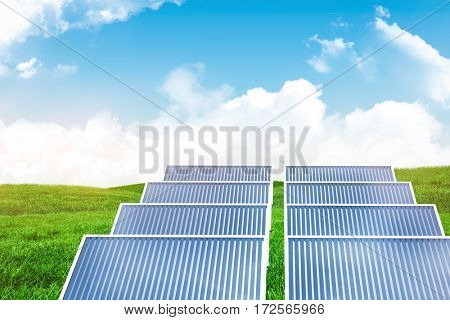 Illustration of solar panel against white screen against green field under blue sky