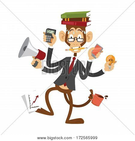 Cartoon monkey businessman stress dancing isolated vector illustration office life concept chimpanzee gorilla manager boss business people bullhorn meeting report
