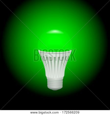 LED green economical light bulb glowing on a dark background. Save energy lamp. Realistic vector illustration.