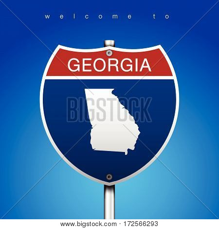 Sign of State American in Road Style  An Sign Road America Style with state of American with blue background and message, Georgia and map, vector art image illustration