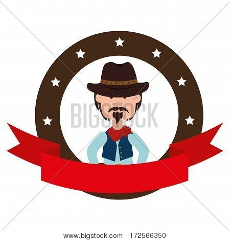 cowboy character wild west icon vector illustration design
