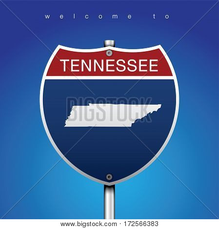 Sign of State American in Road Style  An Sign Road America Style with state of American with blue background and message, Tennessee and map, vector art image illustration
