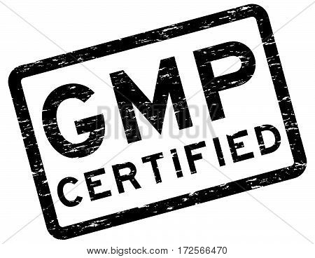 Grunge black GMP (Good Manufacturing Practices) certified square rubber stamp poster