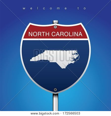 Sign of State American in Road Style  An Sign Road America Style with state of American with blue background and message, North Carolina and map, vector art image illustration