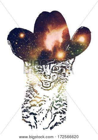 Grunge portrait of the cat with starfield texture surreal illustration.