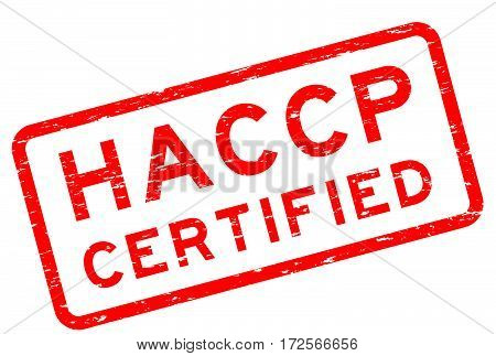 Grunge red HACCP (Hazard Analysis and Critical Control Point) square rubber stamp