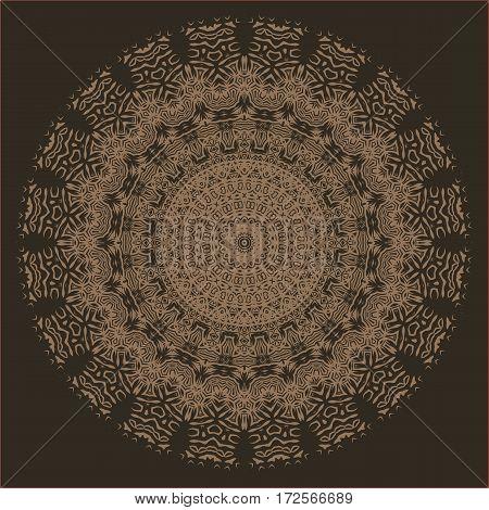 Brown Ornamental Line Pattern. Endless Texture. Oriental Geometric Ornament