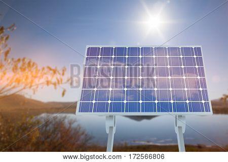 Solar panel against lake