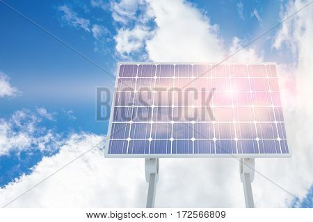 Solar panel against view of beautiful sky and clouds