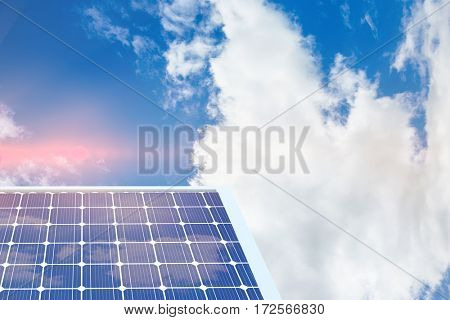 Solar equipment in hexagon shaped against view of beautiful sky and clouds