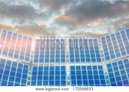 Illustration of solar panel against low angle view of sky