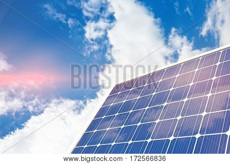 Solar panel with hexagon shape glasses against view of beautiful sky and clouds