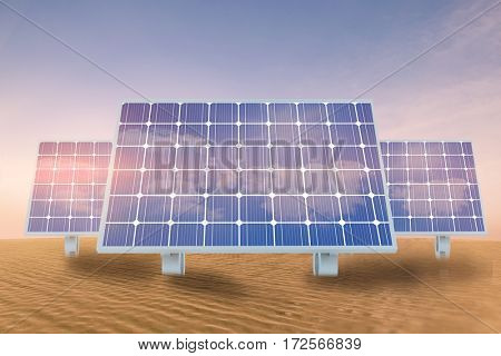 Solar panel against desert scene