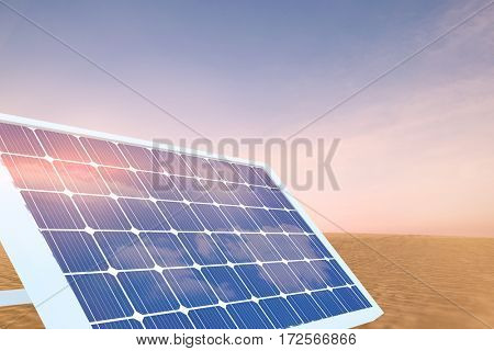 Illustration of solar panel equipment against desert scene