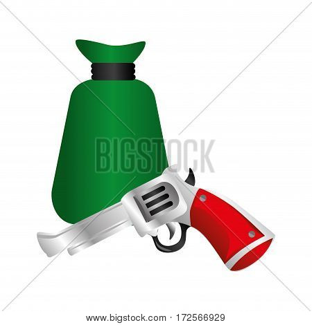 money bag wild west icon vector illustration design