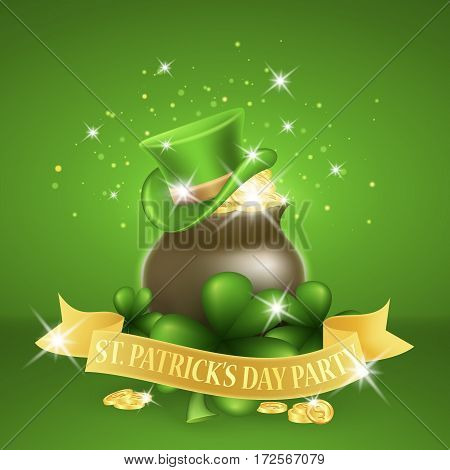 Saint Patricks Day Card with Pot Full of Golden Coins and Golden ribbon whith lettering, Clover on Green Background. Vector Illustration.