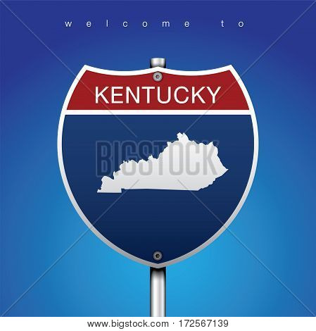 Sign of State American in Road Style  An Sign Road America Style with state of American with blue background and message, Kentucky and map, vector art image illustration