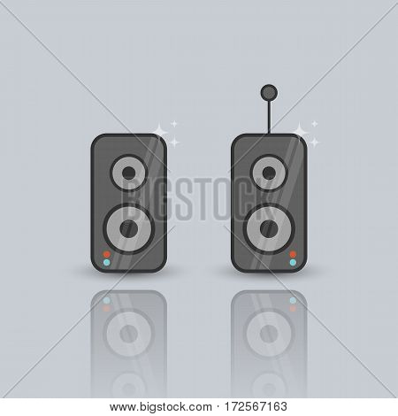Vector flat illustration of speakers. Lineart icon on the grey background.