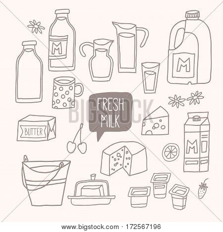Set of outline food: dairy products - milk, yogurt, cheese, butter, milkshake. Vector illustration, isolated on white. Vector hand drawn eps 10 clip art illustration isolated on white background.