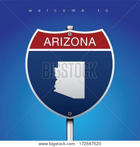 Sign of State American in Road Style  An Sign Road America Style with state of American with blue background and message, Arizona and map, vector art image illustration