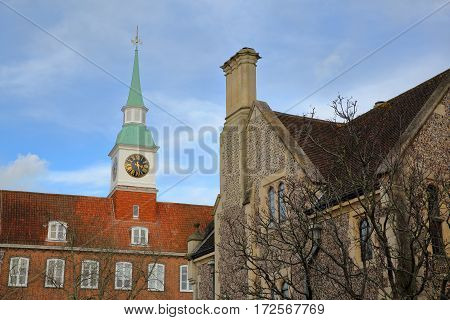 WINCHESTER, UK: Exterior view of the Castle Hill along Castle Avenue and close to the Great Hall with a Clock Tower