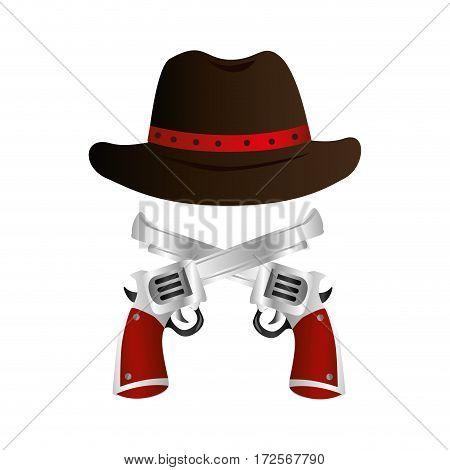 cowboy hat wild west icon vector illustration design