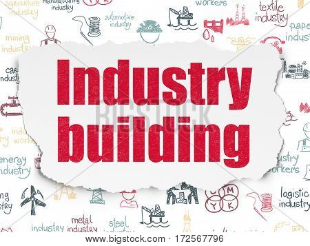 Manufacuring concept: Painted red text Industry Building on Torn Paper background with  Hand Drawn Industry Icons