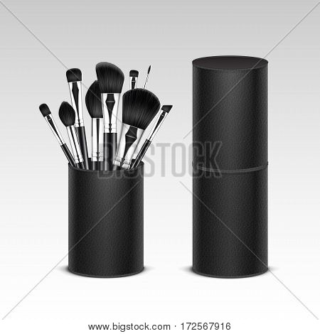 Vector Set of Black Clean Professional Makeup Concealer Powder Blush Eye Shadow Brow Brushes with Black Handles in Leather Tube Isolated on White Background. 3D