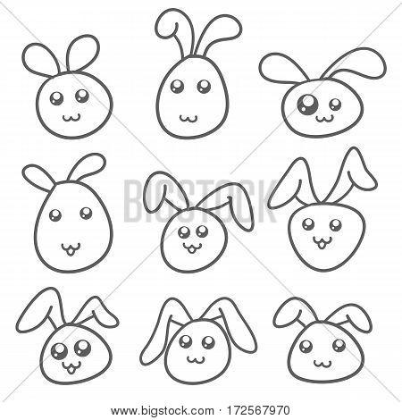 Set of bunny hand draw vector art